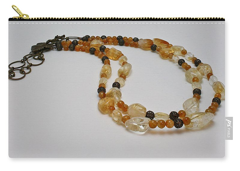 Citrine Nuggets Carry-all Pouch featuring the jewelry 3514 Citrine Double Strand Necklace by Teresa Mucha