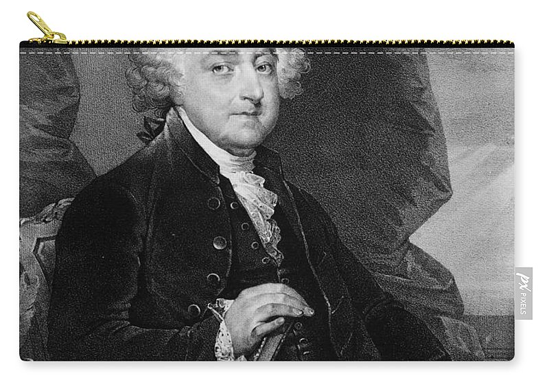 18th Century Carry-all Pouch featuring the photograph John Adams (1735-1826) by Granger