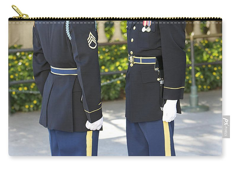 Vertical Carry-all Pouch featuring the photograph Changing Of Guard At Arlington National by Terry Moore