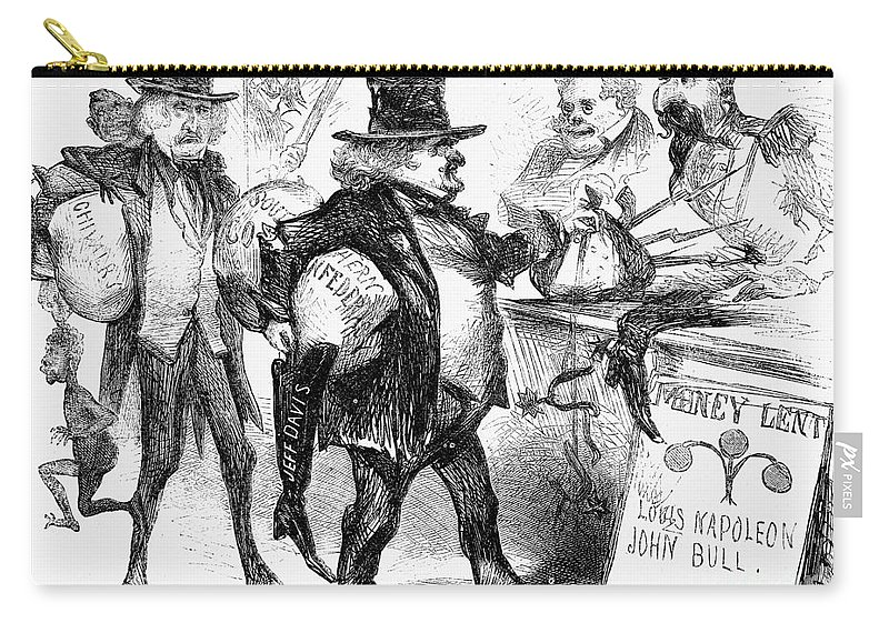 1861 Carry-all Pouch featuring the photograph Civil War: Cartoon, 1861 by Granger
