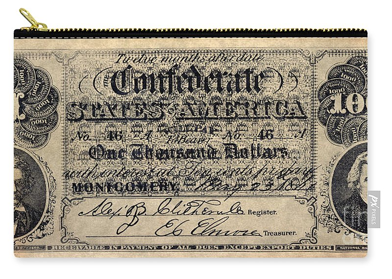 1000 Carry-all Pouch featuring the photograph Confederate Banknote by Granger