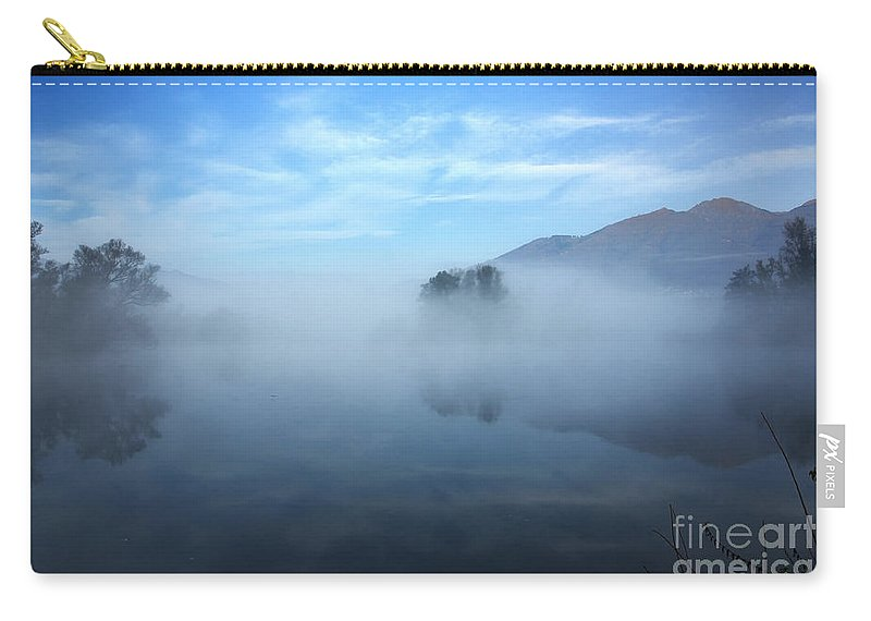 Trees Carry-all Pouch featuring the photograph Foggy Lake by Mats Silvan