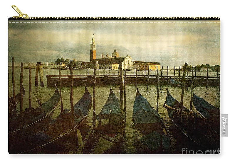 Aged Carry-all Pouch featuring the photograph Gondolas. Venice by Bernard Jaubert