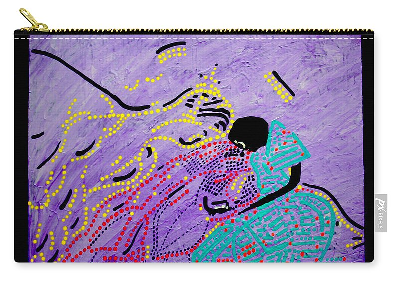 Jesus Carry-all Pouch featuring the painting Jesus And Mary by Gloria Ssali