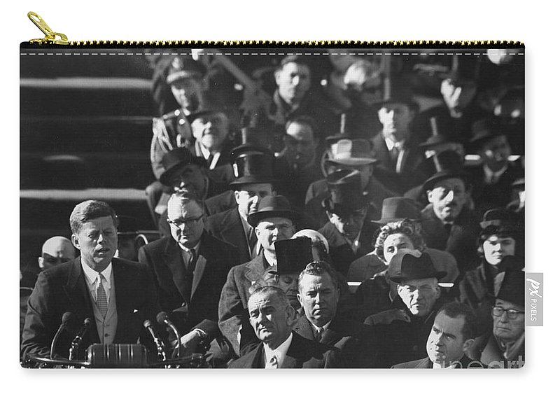 1961 Carry-all Pouch featuring the photograph John F. Kennedy (1917-1963) by Granger