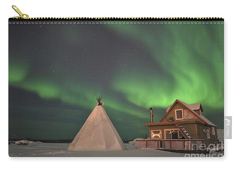 Yellowknife Carry-all Pouch featuring the photograph Northern Lights Above Village by Jiri Hermann