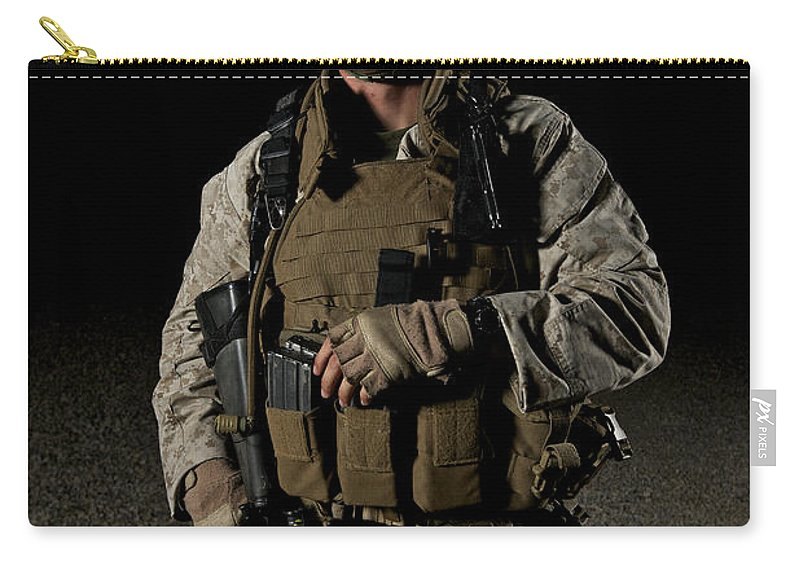 Helmet Carry-all Pouch featuring the photograph Portrait Of A U.s. Marine by Terry Moore