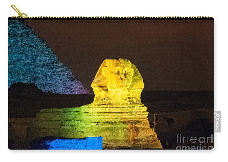 Africa Carry-all Pouch featuring the digital art Pyramids Of Giza by Carol Ailles