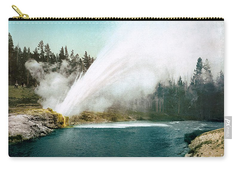 1905 Carry-all Pouch featuring the photograph Yellowstone Park: Geyser by Granger