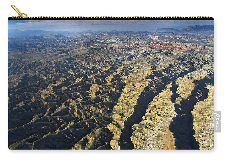 Aerial Photo Carry-all Pouch featuring the photograph Bad Lands by Guido Montanes Castillo
