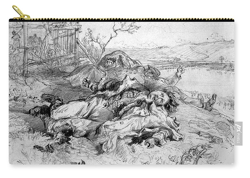 1862 Carry-all Pouch featuring the photograph Battle Of Fredericksburg by Granger
