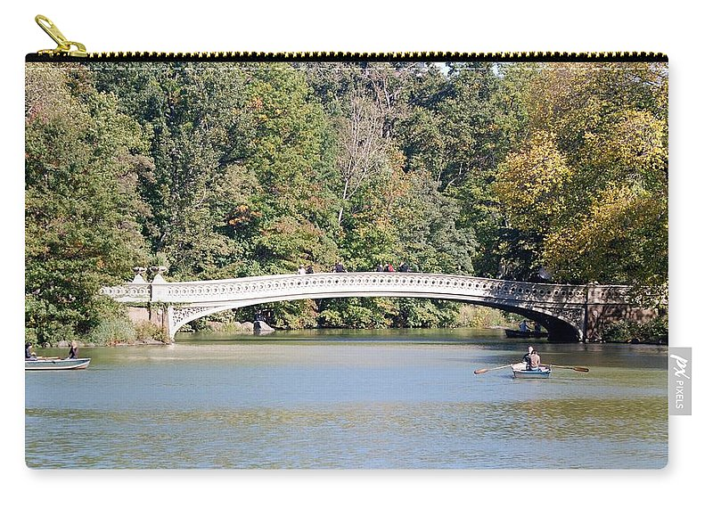 Central Park Carry-all Pouch featuring the photograph Bow Bridge by Rob Hans