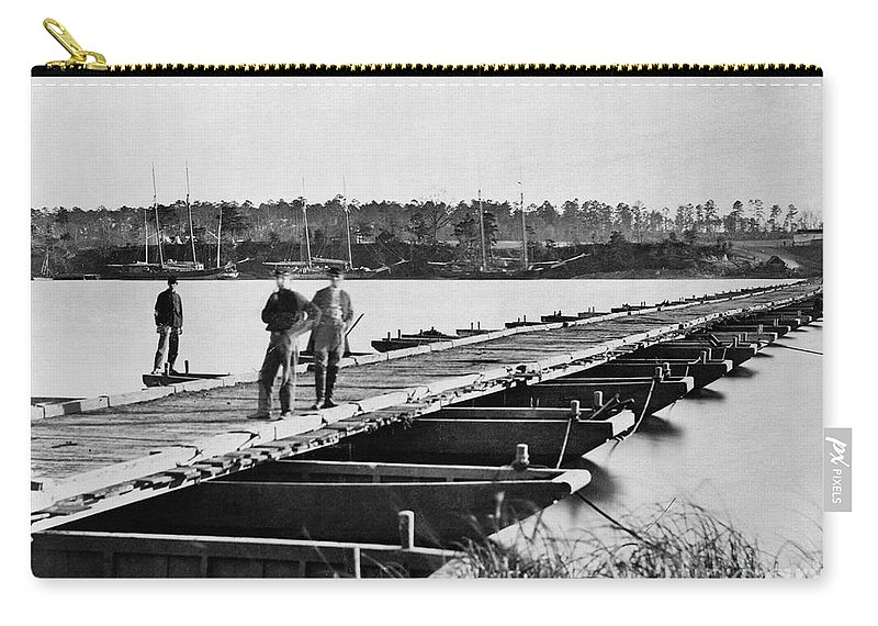 1863 Carry-all Pouch featuring the photograph Civil War: Pontoon Bridge by Granger