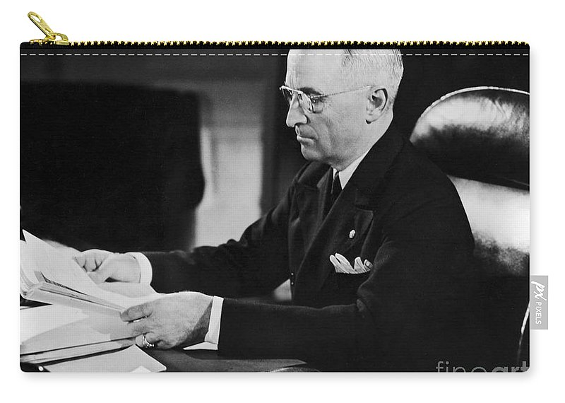 1945 Carry-all Pouch featuring the photograph Harry S. Truman (1884-1972) by Granger