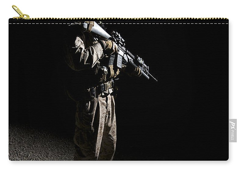 M203 Carry-all Pouch featuring the photograph Partially Silhouetted U.s. Marine by Terry Moore