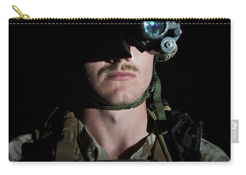 Goggles Carry-all Pouch featuring the photograph Portrait Of A U.s. Marine Wearing Night by Terry Moore