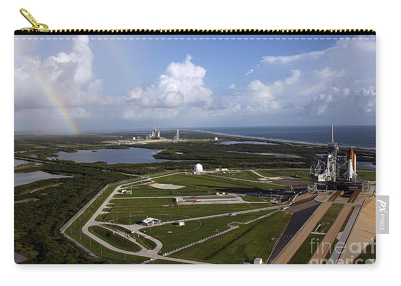 Orbiter Carry-all Pouch featuring the photograph Space Shuttle Atlantis And Endeavour by Stocktrek Images