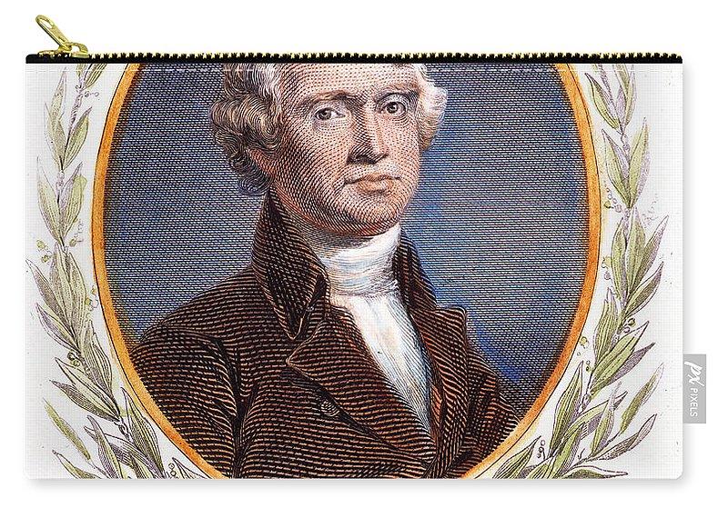 18th Century Carry-all Pouch featuring the photograph Thomas Jefferson (1743-1826): by Granger