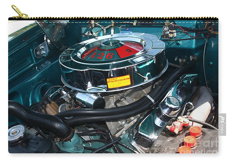 1965 Carry-all Pouch featuring the photograph 65 Plymouth Satellite Engine-8482 by Gary Gingrich Galleries