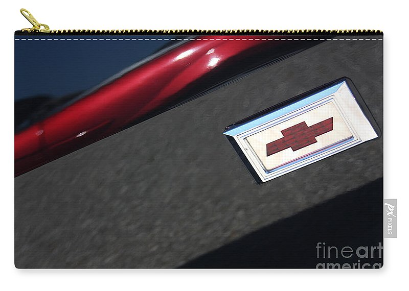1967 Carry-all Pouch featuring the photograph 67 Black Camaro Ss Bow Tie by Gary Gingrich Galleries