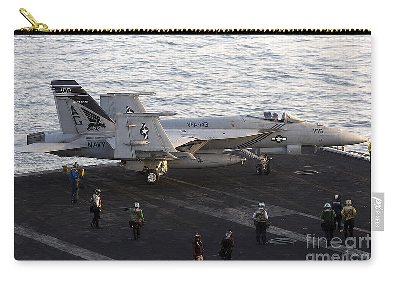 Arabian Sea Carry-all Pouch featuring the photograph An Fa-18e Super Hornet During Flight by Gert Kromhout