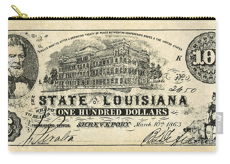 1863 Carry-all Pouch featuring the photograph Confederate Banknote by Granger