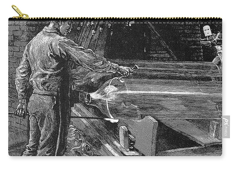 19th Century Carry-all Pouch featuring the photograph Glassworker, 19th Century by Granger