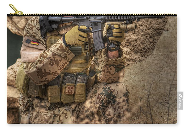 Kneeling Carry-all Pouch featuring the photograph Hdr Image Of A German Army Soldier by Terry Moore