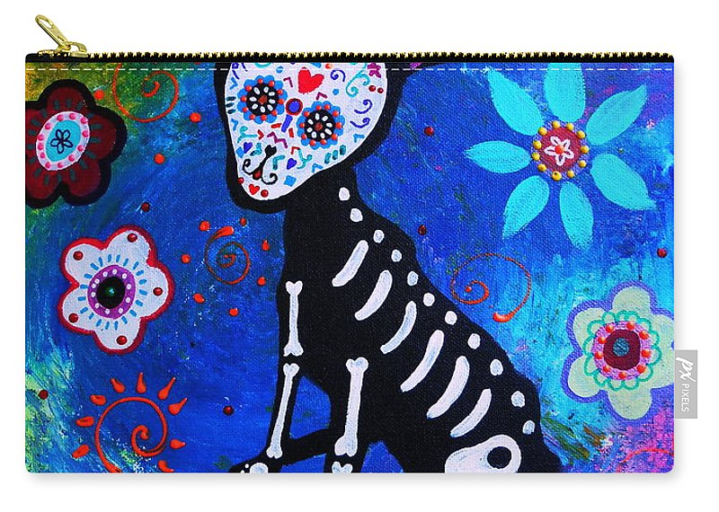 Day Of The Dead Chihuahua Carry-all Pouch featuring the painting Chihuahua Day Of The Dead by Pristine Cartera Turkus