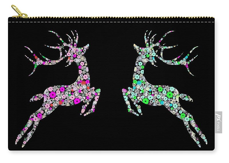 Animal Carry-all Pouch featuring the painting Reindeer Design By Snowflakes by Setsiri Silapasuwanchai