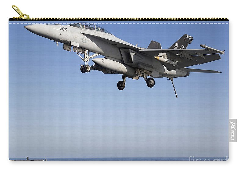 Arabian Sea Carry-all Pouch featuring the photograph An Fa-18f Super Hornet During Flight by Gert Kromhout
