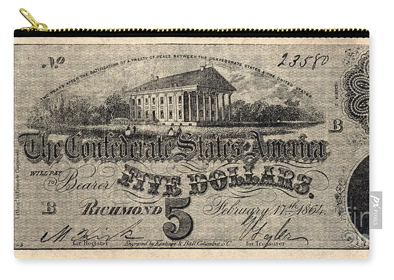1862 Carry-all Pouch featuring the photograph Confederate Banknote by Granger