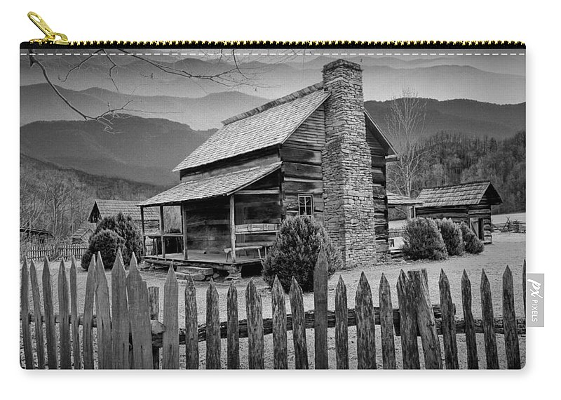 Art Carry-all Pouch featuring the photograph A Black And White Photograph Of An Appalachian Mountain Cabin by Randall Nyhof
