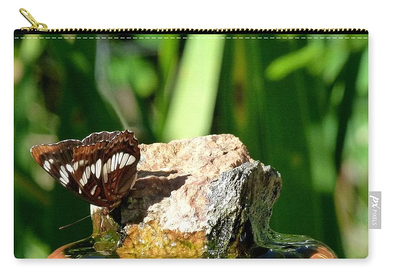Butterfly Carry-all Pouch featuring the photograph A Butterfly Enjoys A Drink by Will Borden
