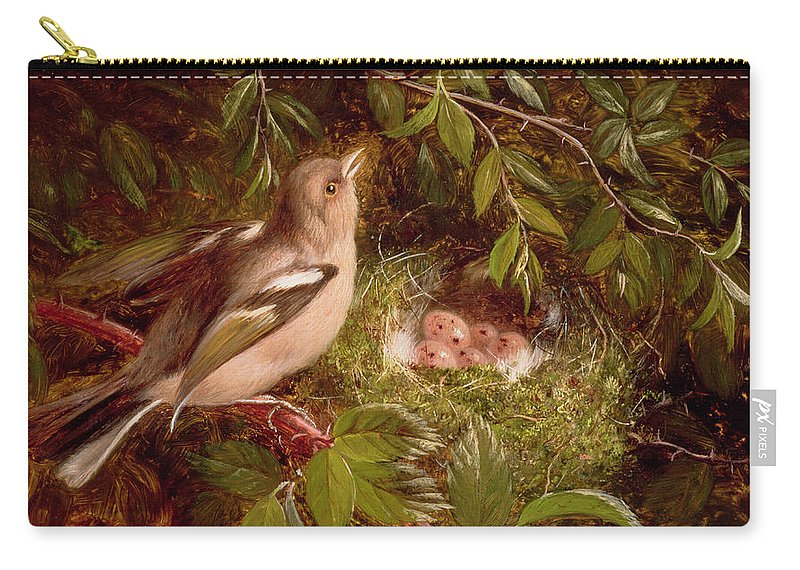 A Chaffinch At Its Nest Carry-all Pouch featuring the painting A Chaffinch At Its Nest by William Hughes