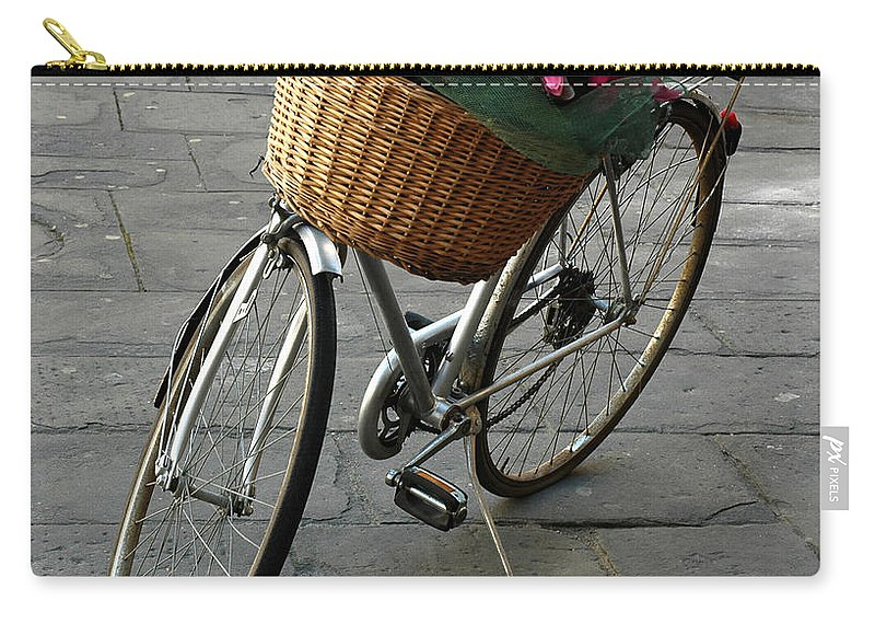Bicycle Carry-all Pouch featuring the photograph A Flower Delivery by Vivian Christopher