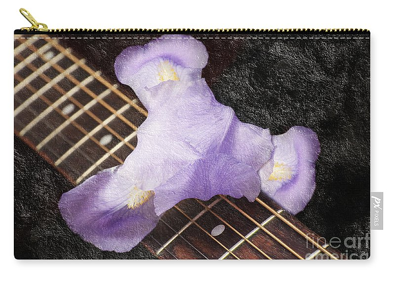 Iris Carry-all Pouch featuring the photograph A Flower Music And Romance by Andee Design