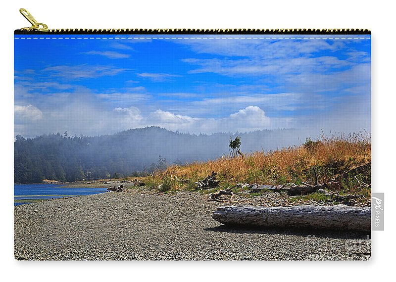 Fog Carry-all Pouch featuring the photograph A Foggy Morning At Whiffin Spit by Louise Heusinkveld