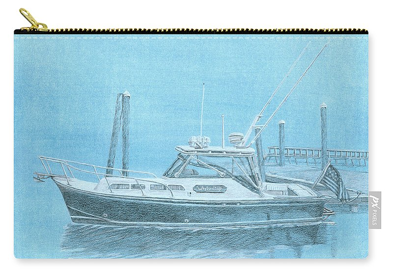 Boat Carry-all Pouch featuring the painting A Fortier Docked In Maine by Dominic White