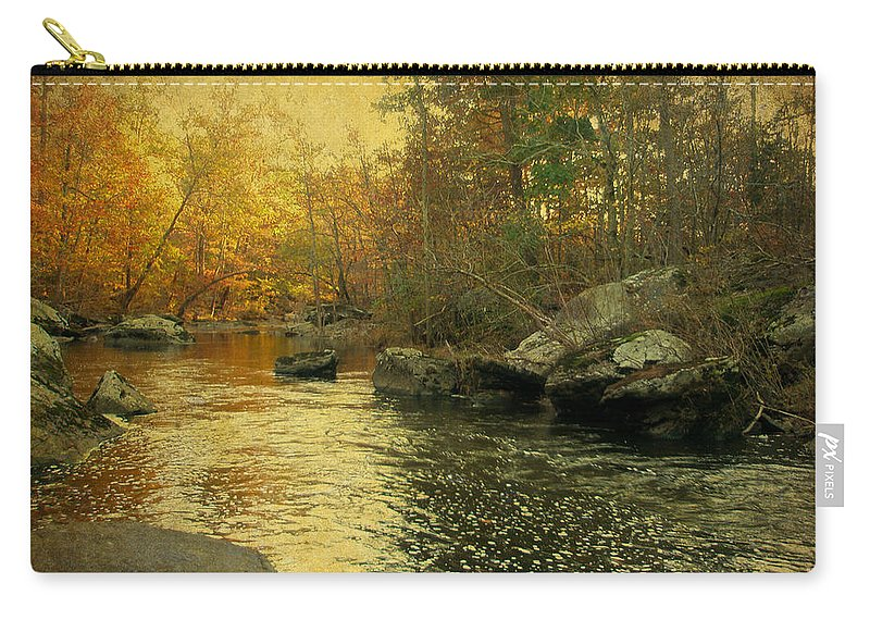 Creek Carry-all Pouch featuring the photograph A Golden Autumn At The Unami by Mother Nature