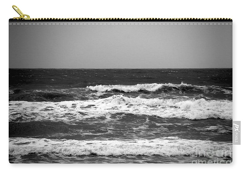 Waves Carry-all Pouch featuring the photograph A Gray November Day At The Beach - II by Susanne Van Hulst