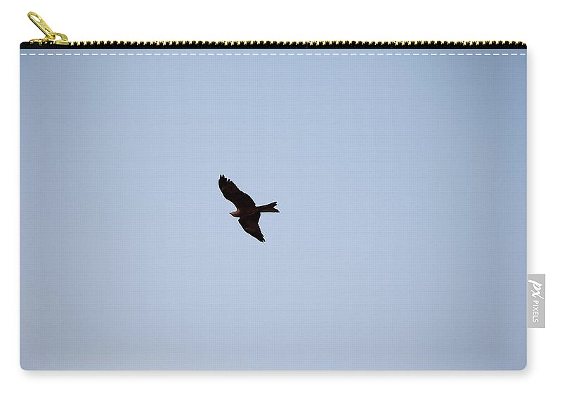 Kite Carry-all Pouch featuring the photograph A Kite Flying High In The Sky by Ashish Agarwal