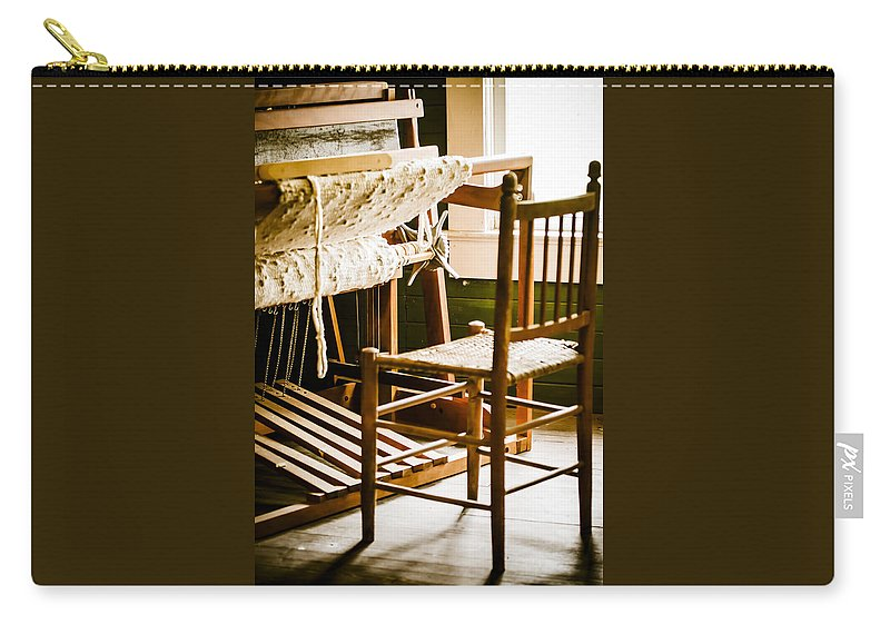 Chair Carry-all Pouch featuring the photograph A Loom For Grandma by Carolyn Marshall