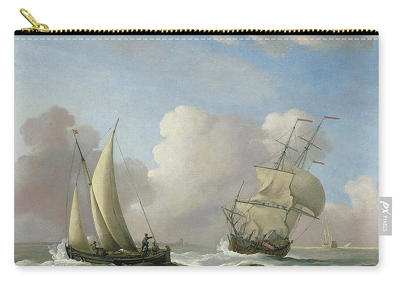 Ship; Ships; Ocean; Sea; Clouds; Waves Carry-all Pouch featuring the painting A Man-o'-war In A Swell And A Sailing Boat by Peter Monamy