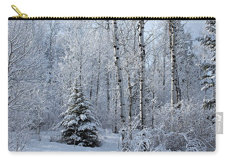 Winter Carry-all Pouch featuring the photograph A Morning Dusting by DeeLon Merritt