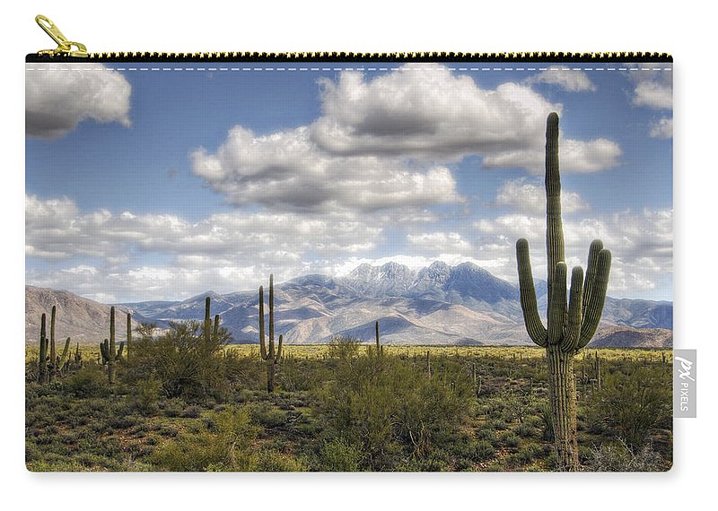 Four Peaks Carry-all Pouch featuring the photograph A Morning In The Desert by Saija Lehtonen