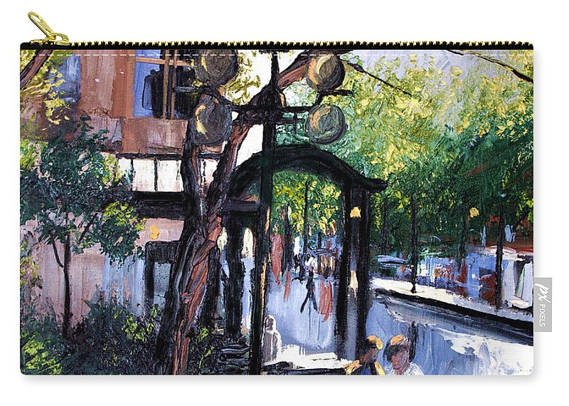 A Saturday Stroll Framed Prints Carry-all Pouch featuring the painting A Saturday Stroll by Anthony Falbo
