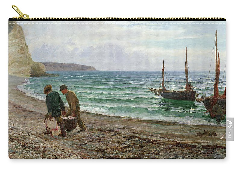 Fishing Carry-all Pouch featuring the painting A Sea View by Colin Hunter