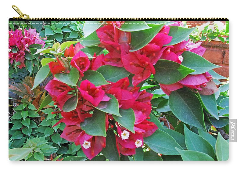 Flower Carry-all Pouch featuring the photograph A Section Of Pink Bougainvillea Flowers by Ashish Agarwal
