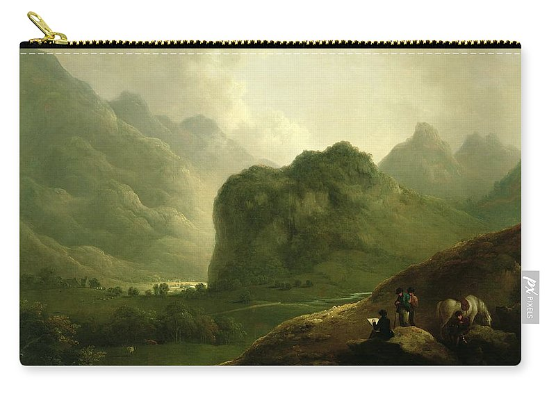 A Sketching Party In The Paa Sketching Party In The Pass At Borrowdale Carry-all Pouch featuring the painting A Sketching Party In The Pass At Borrowdale by Julius Caesar Ibbetson